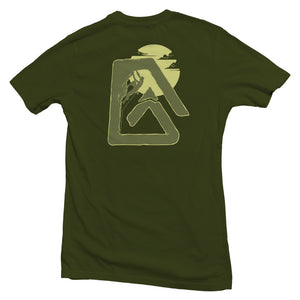 The back of an olive green, Nuvo brand, short sleeve graphic t-shirt featuring rock climber inside Nuvo logo