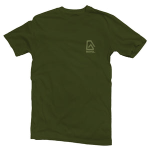 The front of a olive green, Nuvo brand, short sleeve graphic t-shirt featuring small Nuvo logo on left chest