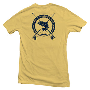 The back of a yellow, Nuvo brand, short sleeve graphic t-shirt featuring bass fish, fishing poles and Live the Adventure