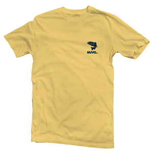 The front of a yellow, Nuvo brand, short sleeve graphic t-shirt featuring bass fish and Nuvo logo on left chest