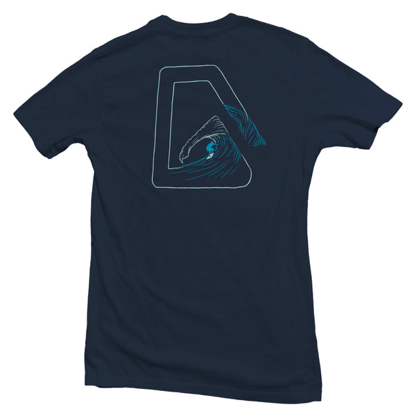 The back of a navy blue, Nuvo brand, short sleeve graphic t-shirt featuring a surfer inside the Nuvo logo