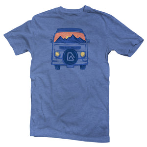 The front of a blue, Nuvo brand, short sleeve graphic t-shirt featuring VW van with sunset scene in the windshield