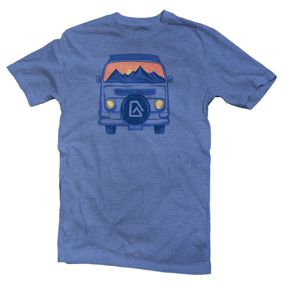 The front of a mauve, Nuvo brand, short sleeve graphic t-shirt featuring VW van with sunset scene in the windshield