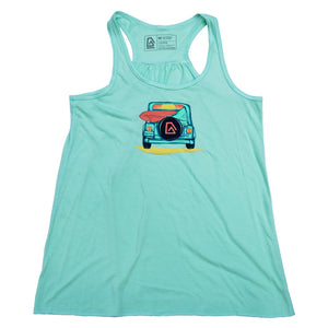 Nuvo brand, mint green, graphic tank top featuring Jeep with surfboard and ocean sunset in windshield