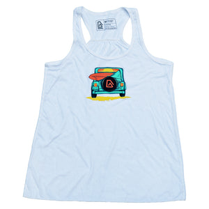 Nuvo brand, white, graphic tank top featuring Jeep with surfboard and ocean sunset in windshield