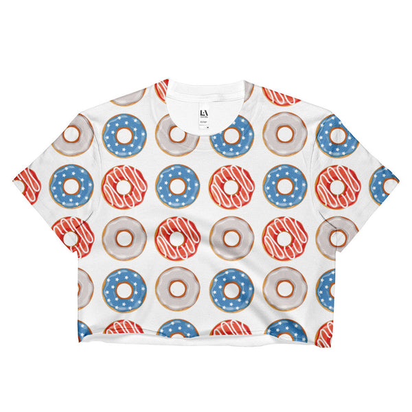Patriotic Donuts Womens Crop