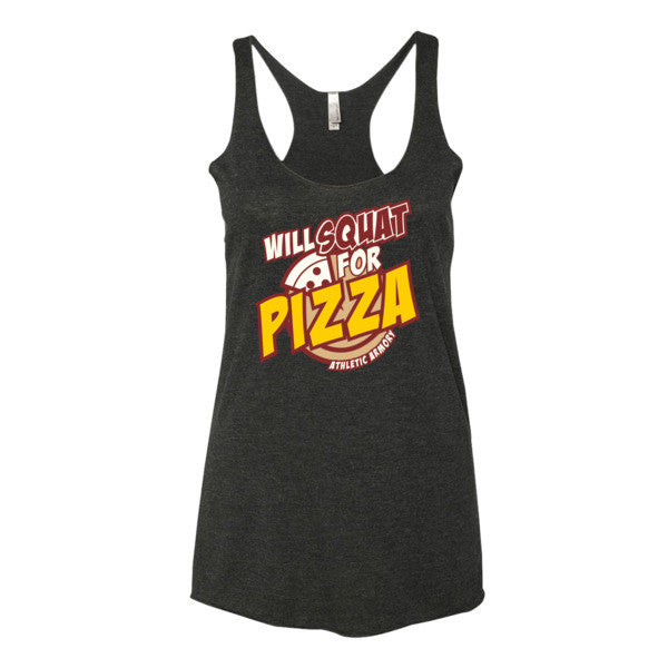 WILL squat for PIZZA (womens tank top)