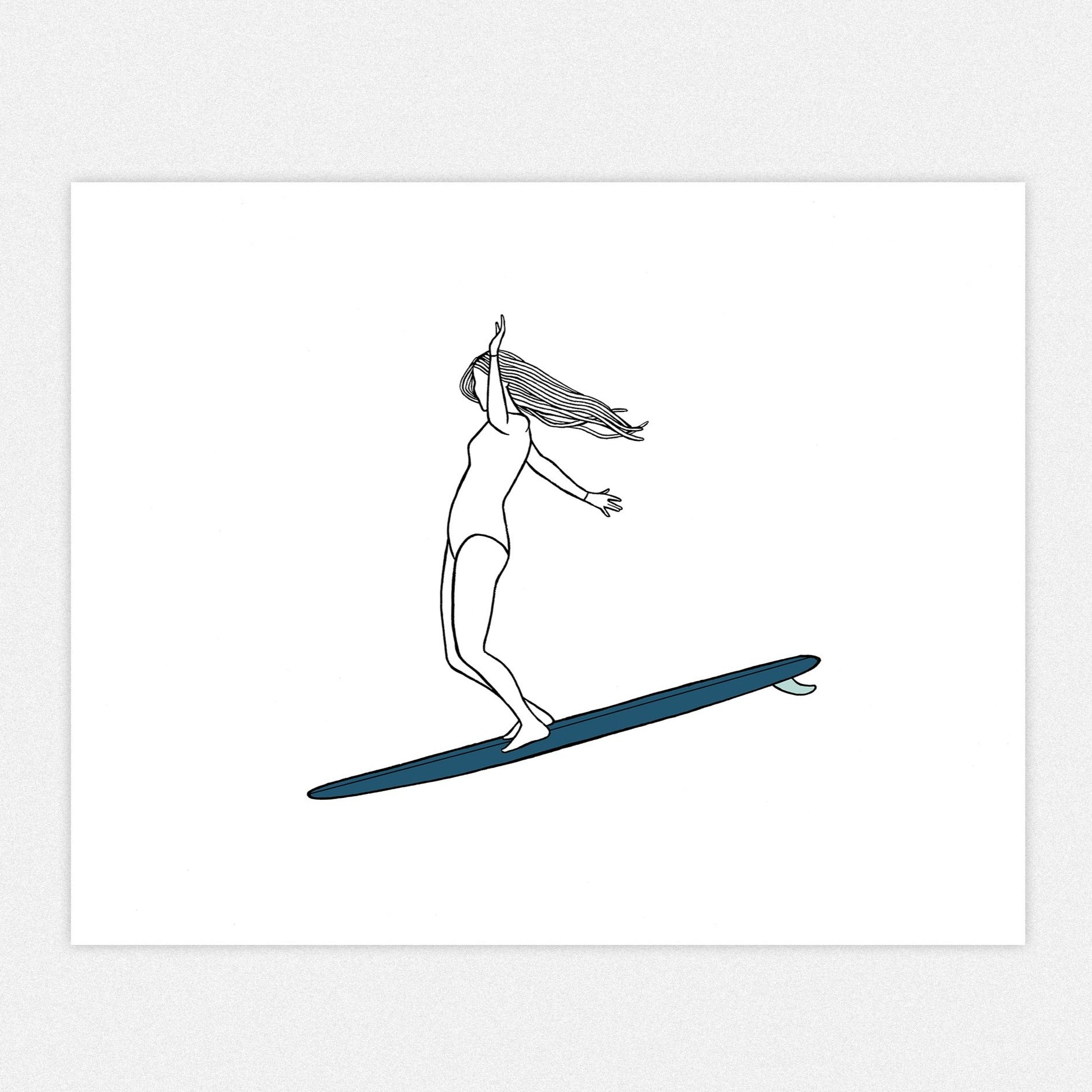 """Lady Sliders"", A Pair of Surf Art Prints"