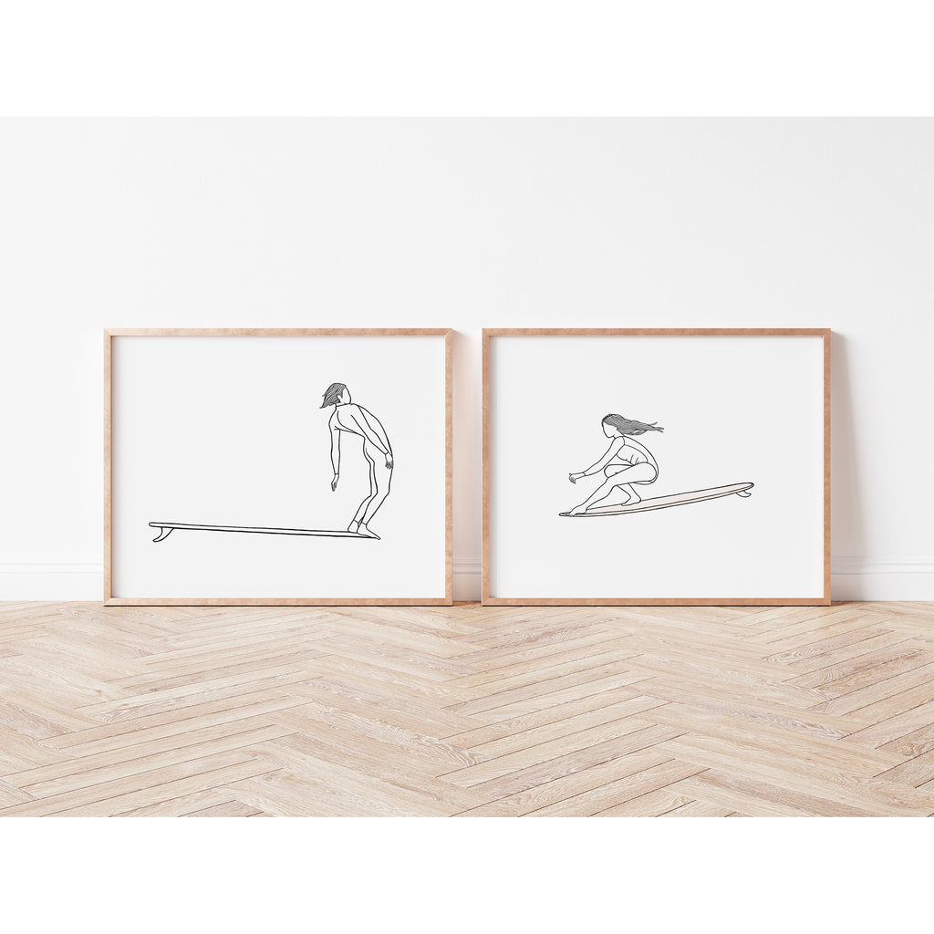 """His + Hers"", A Pair of Surf Art Prints"