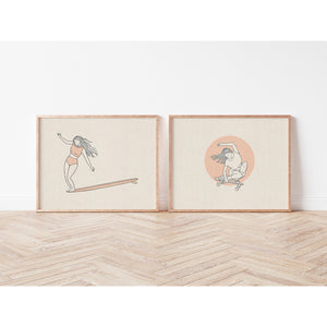 """Surf + Skate"", A Pair of Surf Art Prints"