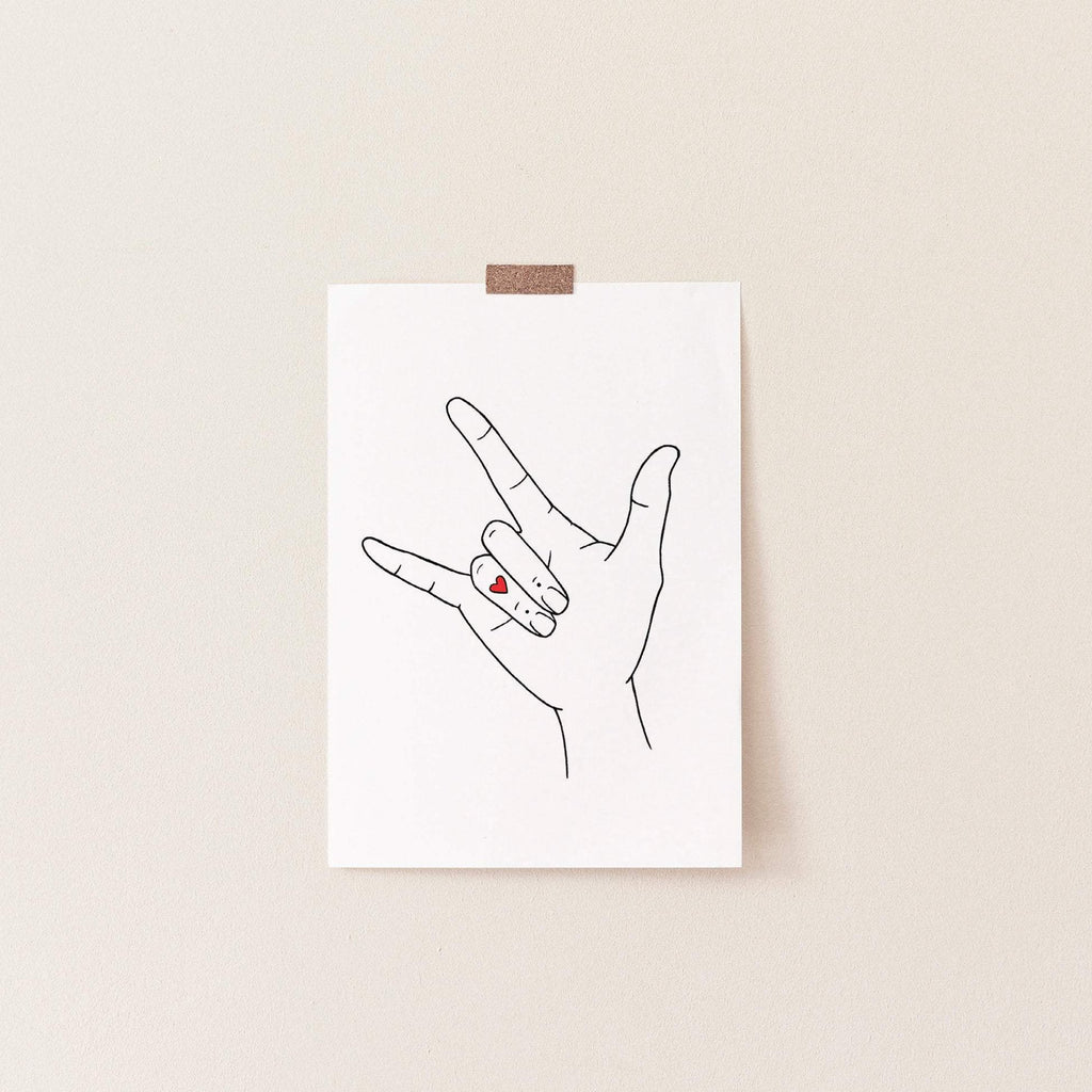 "Hand Art Print, ""I Love You"""