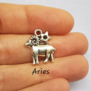 Aries Zodiac Charm Antique Silver