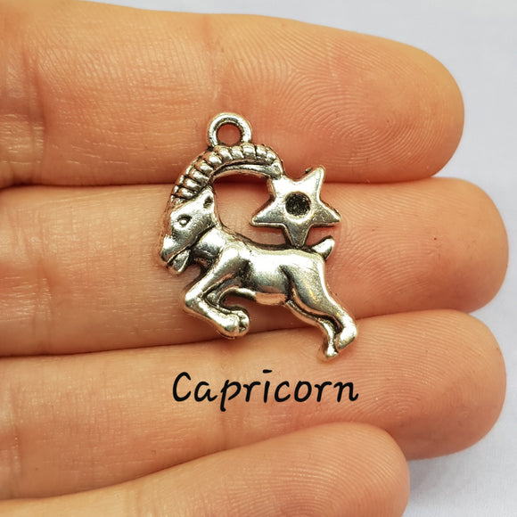 Capricorn Zodiac Charm Antique Silver