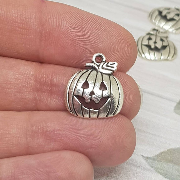 Antique Silver Charms - Carved Pumpkin - Jack O' Lantern - Halloween