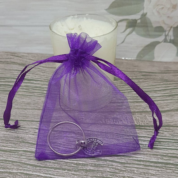 12 Organza Gift Bag For Jewelry Packaging - Purple - 7cm x 9cm