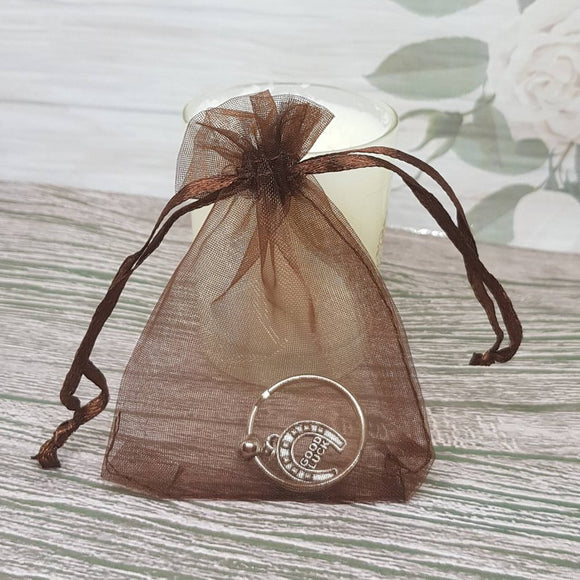 12 Organza Gift Bag For Jewelry Packaging - Brown - 7cm x 9cm