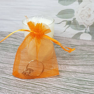 12 Organza Gift Bag For Jewelry Packaging - Orange - 7cm x 9cm