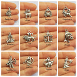 Antique Silver Zodiac Charms - Virgo Symbol