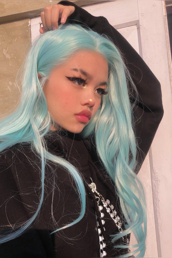 Tiffany blue|Synthetic Swiss Lace Front Wig