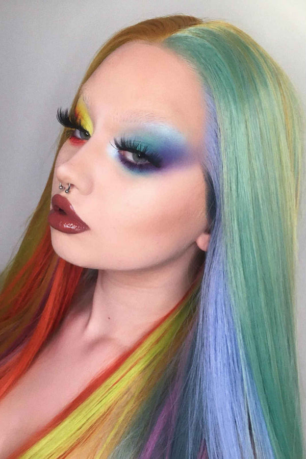 Rainbow Candy|Synthetic Swiss Lace Front Wig
