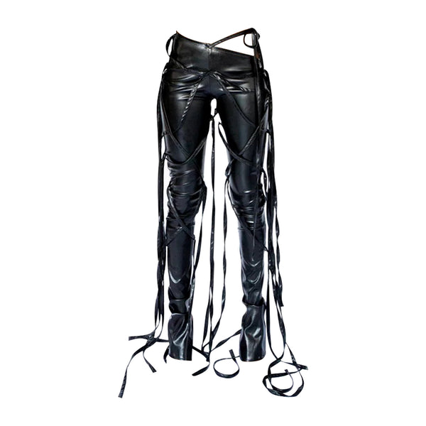 Faux Leather String Pants