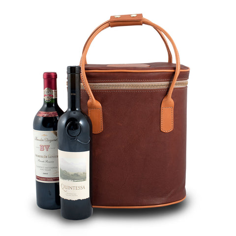 Leather Double Wine Tote