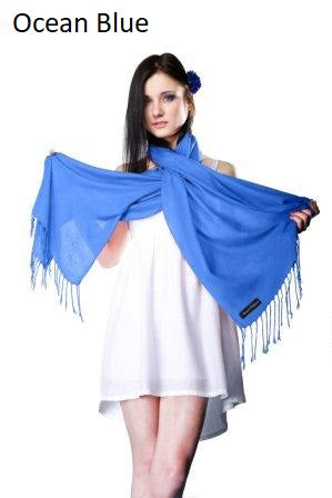 ocean blue ring pashmina stole.