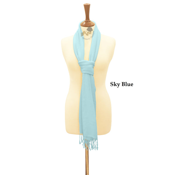 Sky blue wrap ring pashmina.