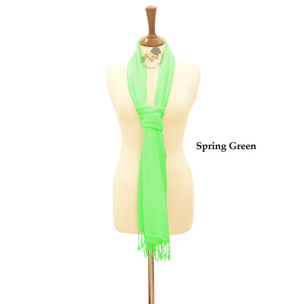 Spring green wrap ring pashmina.