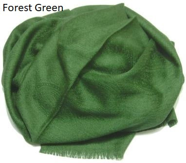 forest green jacquard pashmina wrap, shawl.