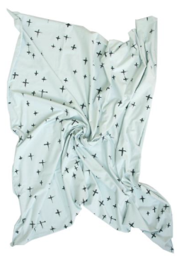 Organic Cotton Wrap - Seafoam Cross Print