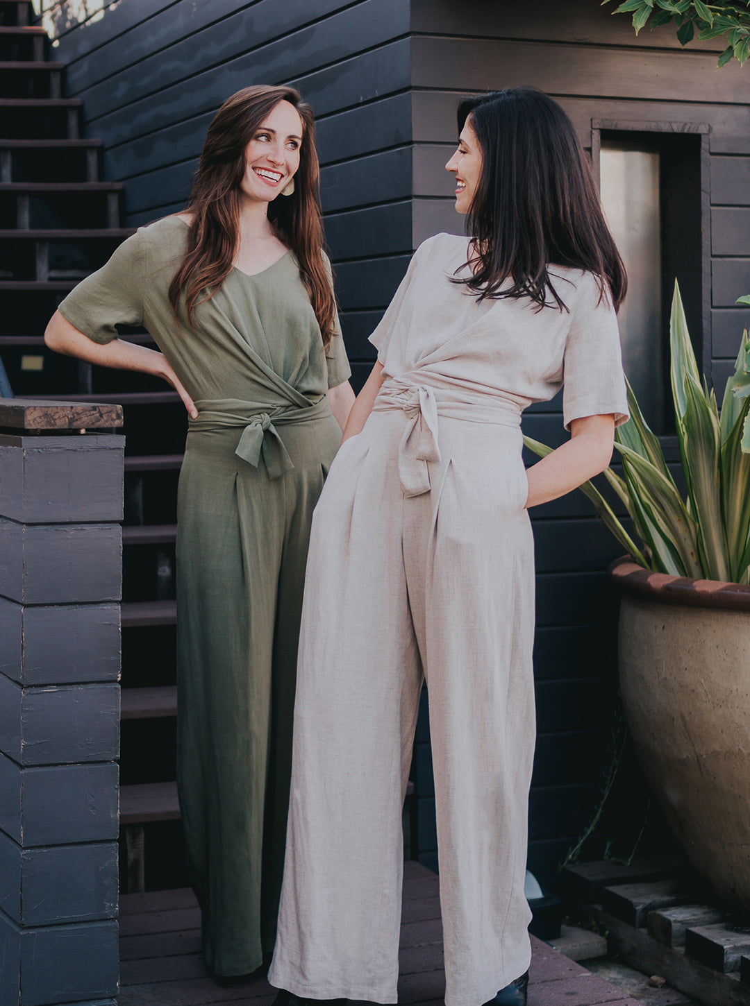 Isabel jumpsuit in natural and eucalyptus