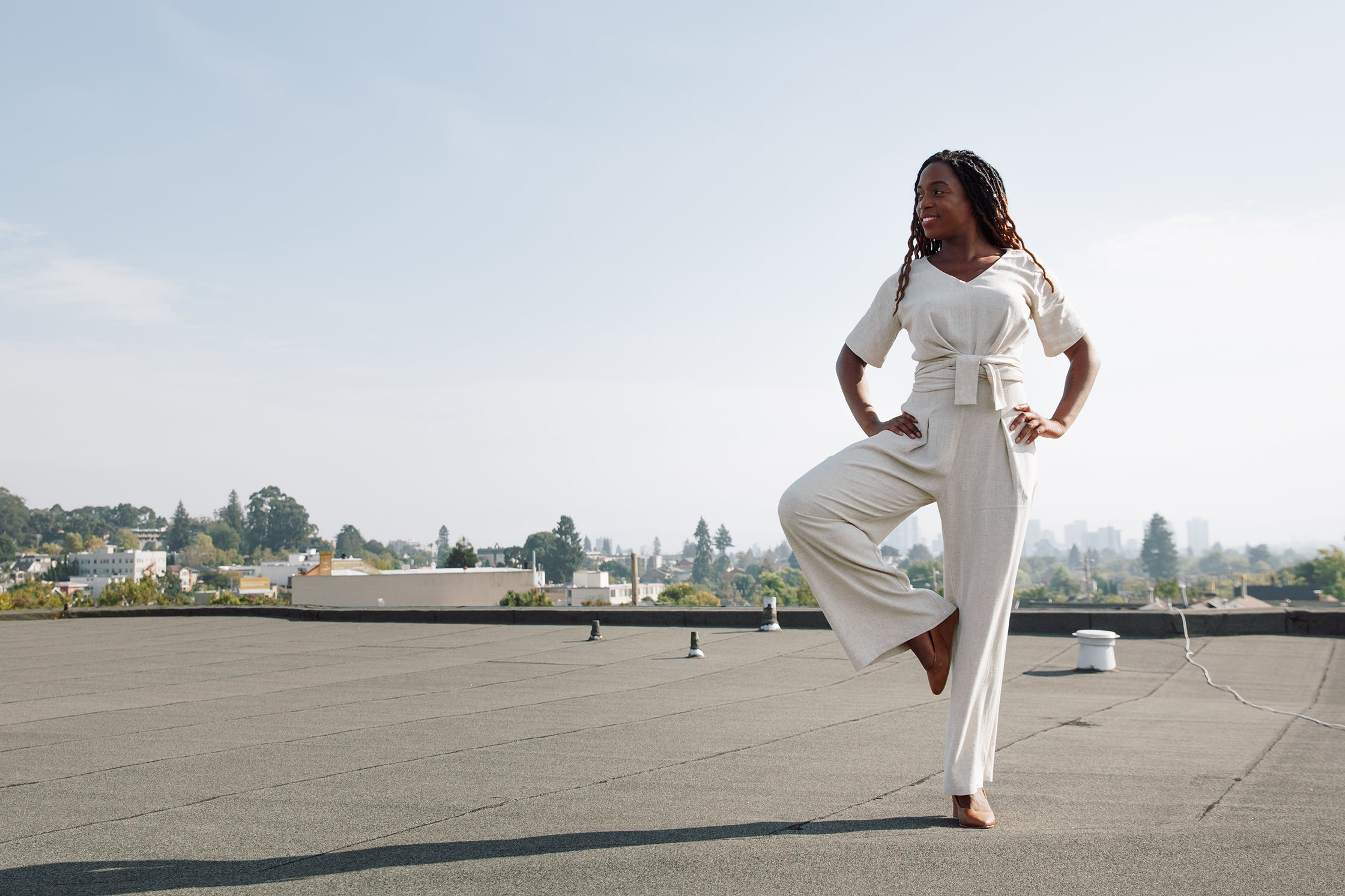 Tree pose in Isabel jumpsuit