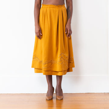 Embroidered Celeste Skirt - Dijon