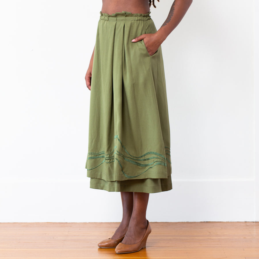 Embroidered Celeste Skirt - Olive
