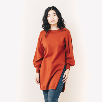 Olive Sweater Tunic, Dark Copper