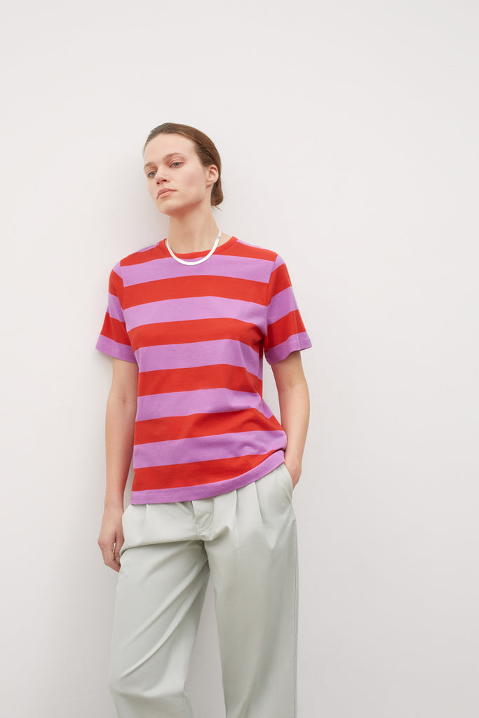 Kowtow Classic Tee - Red/Purple Stripe