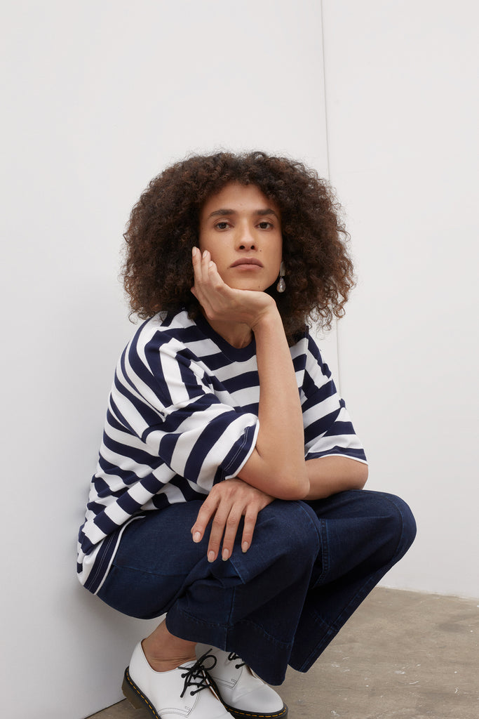 Kowtow Oversized Boxy Tee - Blue/White Stripe