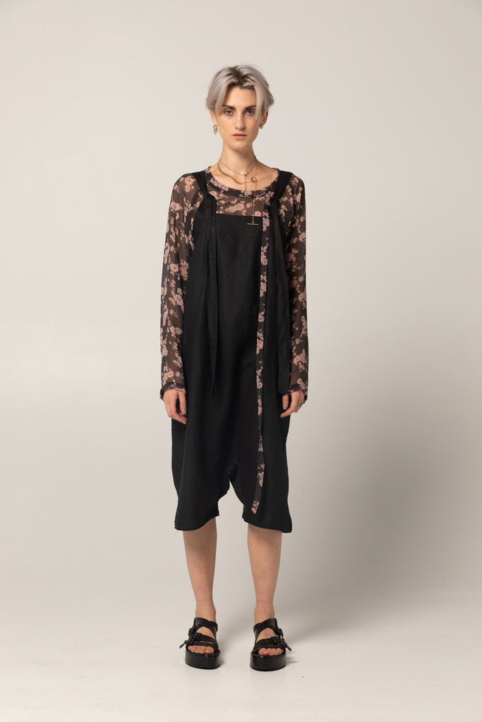 Company of Strangers Playsuit - Black Linen