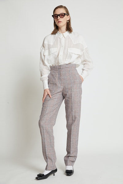 Karen Walker Lawn Trousers- Plaid Linen