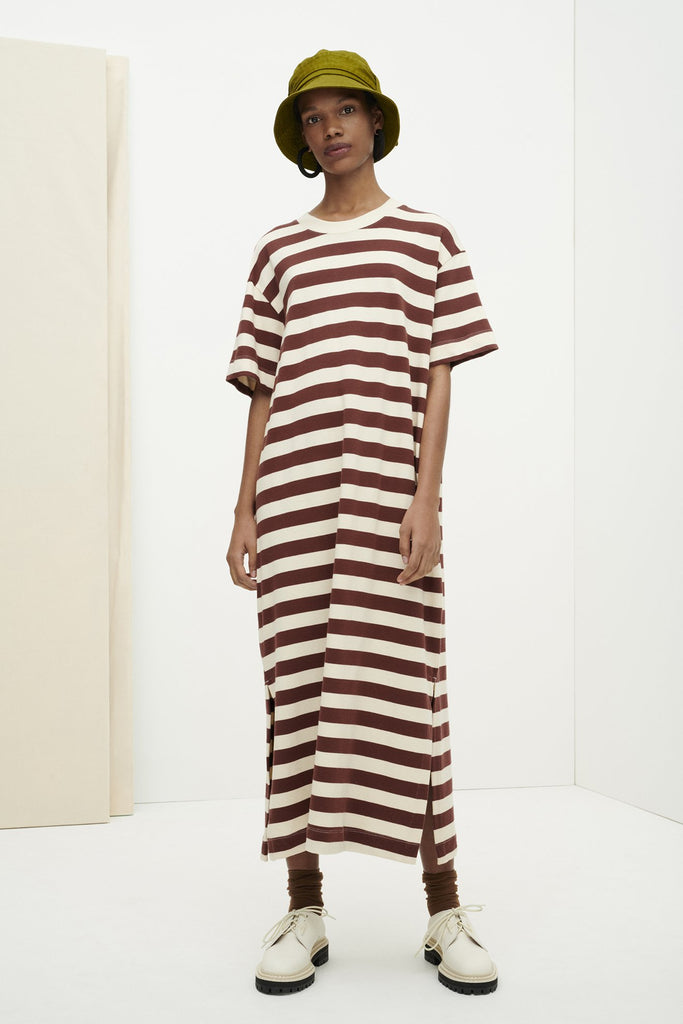 Kowtow Long T Shirt Dress - Mahogany Stripe