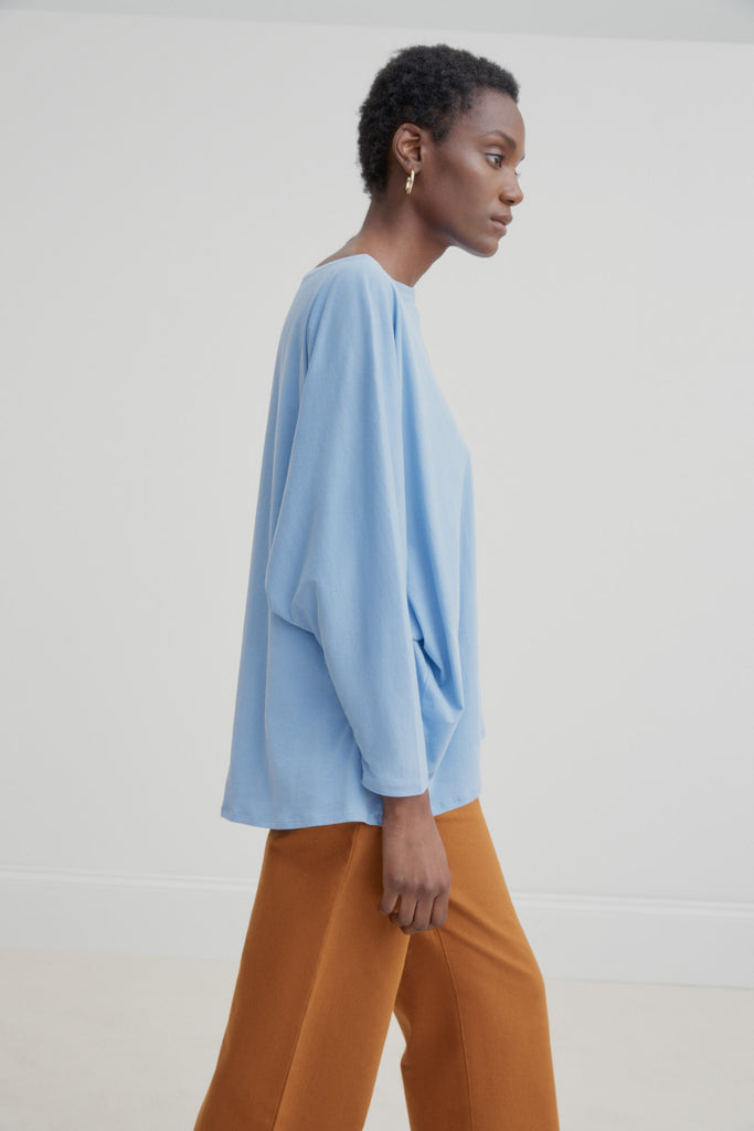 Kowtow Relaxed Boat Neck Top - Dusk Blue