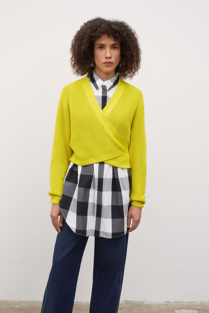 Kowtow Composure Cardigan - Acid Yellow