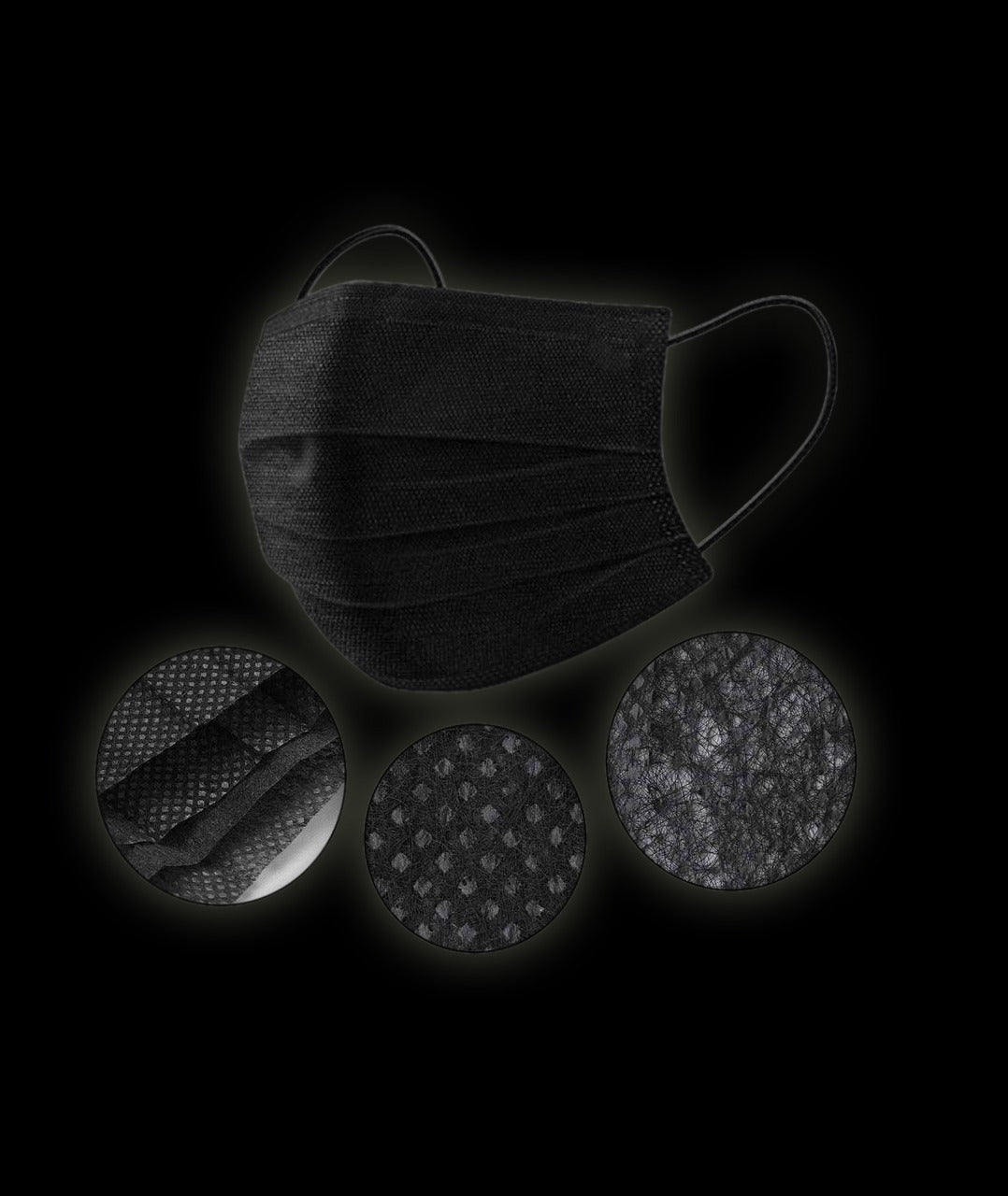 Black Disposable Face Masks Breathable Dust Mask Stretchable Elastic Ear Loops High Quality 50pcs/Pack (Black)
