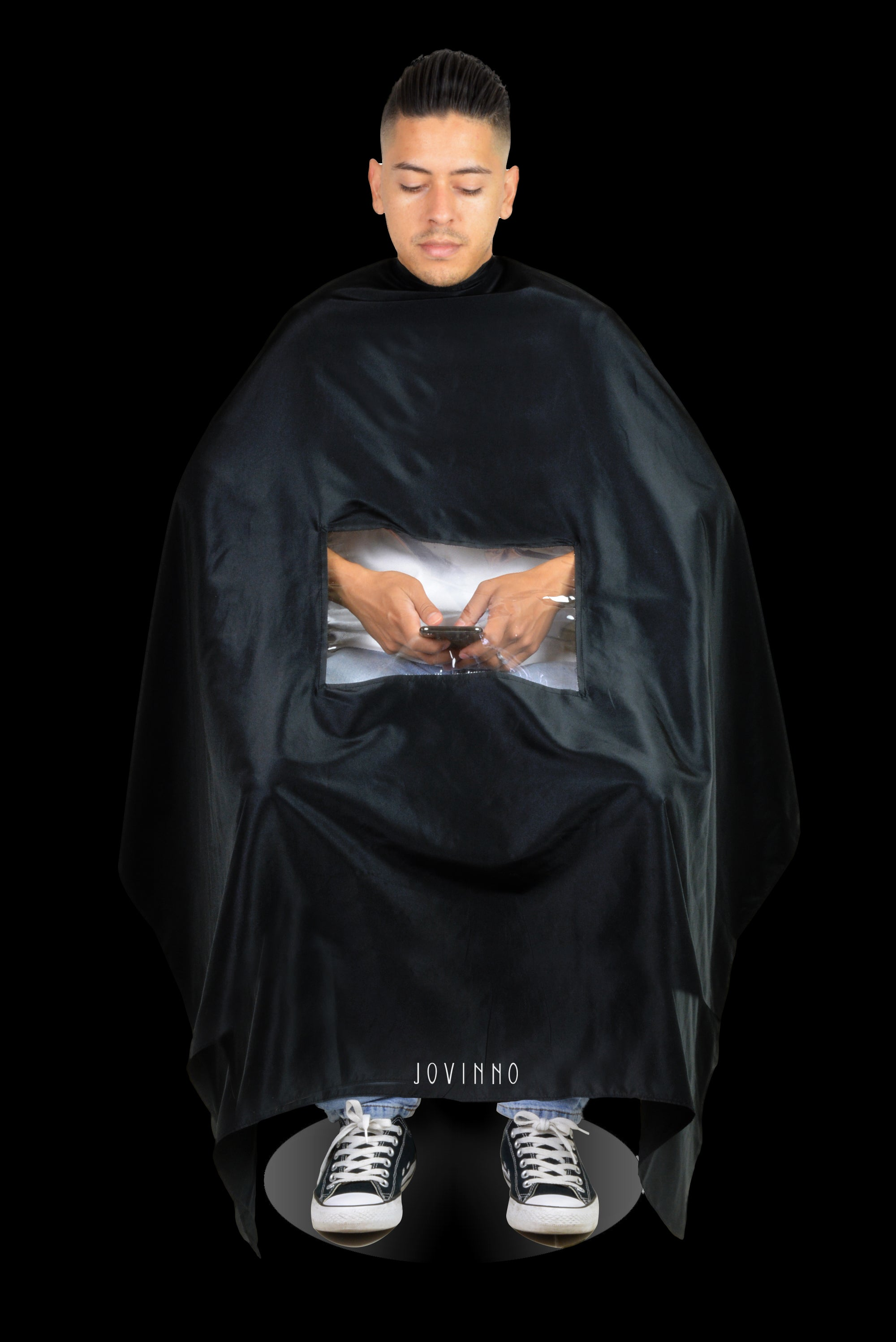 Jovinno- Professional Barber/Salon Cape With Phone Viewing Window