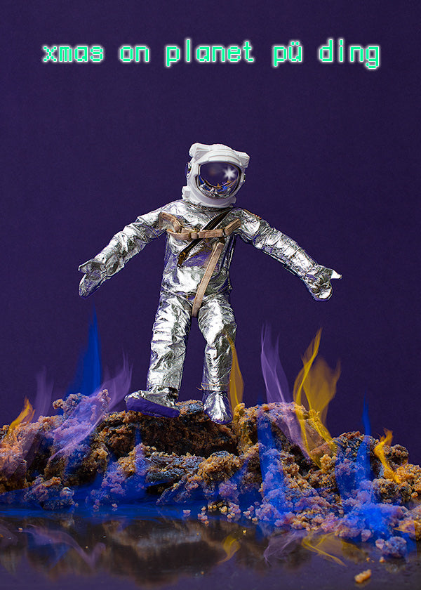 Xmas on planet Pu Ding. Astronaut navigates a firey planet.