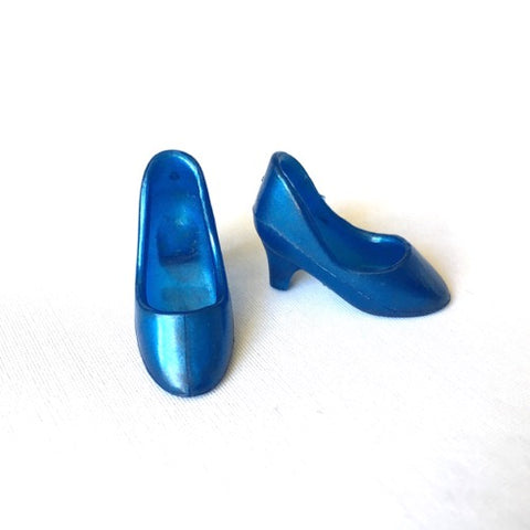 Pearlescent blue high heel shoes