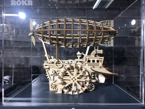 Mechanical airship made from a wooden kit.