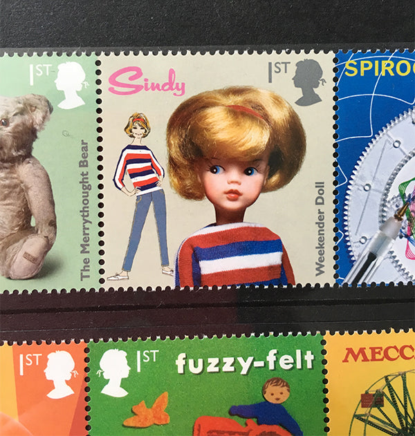 Royal Mail 1st Class stamp with Weekender Sindy doll.