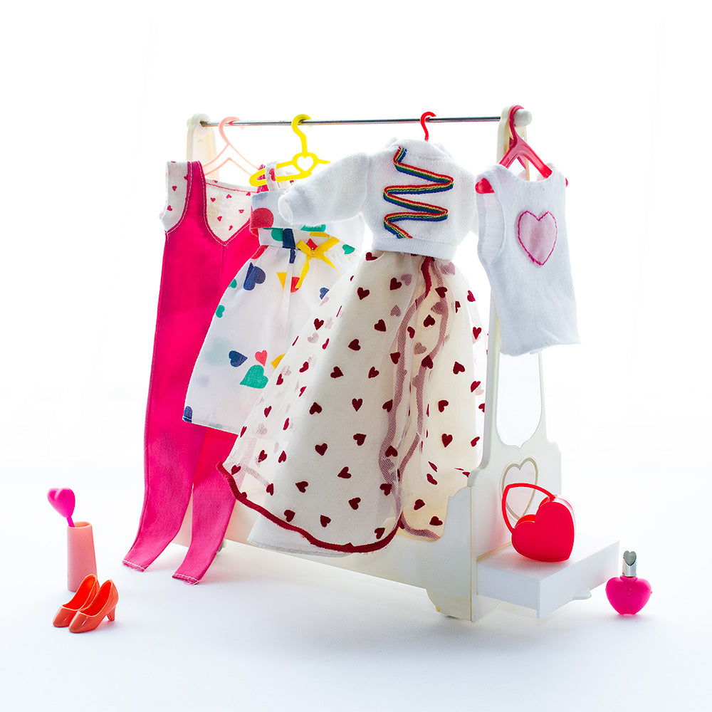 Hearts motif and Valentine theme doll clothes greeting card